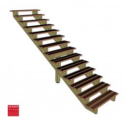 Kit terrasse autoportante 4 x 4 en pin autoclave, H : 200 cm, avec garde-corps modèle Carinn6