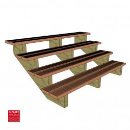 Kit terrasse autoportante 2 x 6 en pin autoclave, H : 120 cm, avec garde-corps modèle Anne