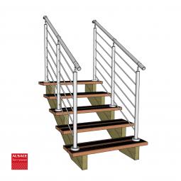 Kit terrasse autoportante 2 x 2 en pin autoclave, H : 200 cm, avec garde-corps modèle Anne