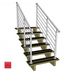 Kit terrasse autoportante 2 x 3 en pin autoclave, H : 200 cm, avec garde-corps modèle Anne