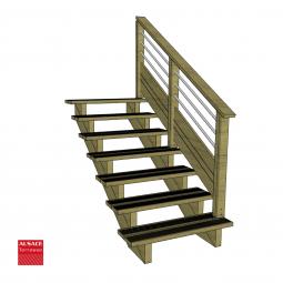 Kit terrasse autoportante 2 x 5 en pin autoclave, H : 200 cm, avec garde-corps modèle Anne