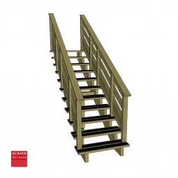 Kit terrasse autoportante 4 x 5 en pin autoclave, H : 200 cm, avec garde-corps modèle Anne