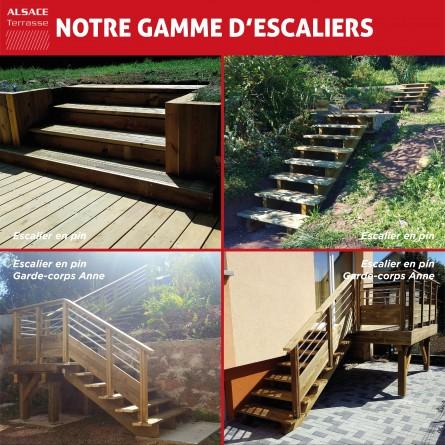 Limon 5 marches en pin trait autoclave boutique alsace for Profondeur marche escalier standard