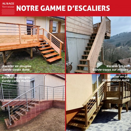 kit escalier 8 marches largeur 80 cm en pin trait. Black Bedroom Furniture Sets. Home Design Ideas