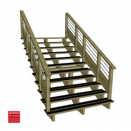 kit escalier 11 marches largeur 80 cm en pin trait autoclave boutique alsace terrasse. Black Bedroom Furniture Sets. Home Design Ideas