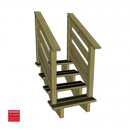 Kit escalier 5 marches largeur 100 cm en pin trait - Escalier 70 cm largeur ...