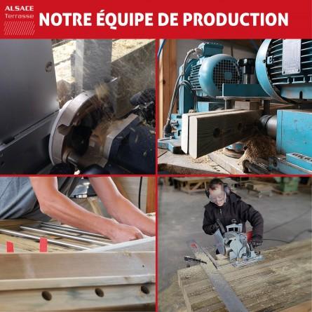 Appentis en bois avec couverture tuiles 4 x 4 m avec hauteur de passage de 220 cm