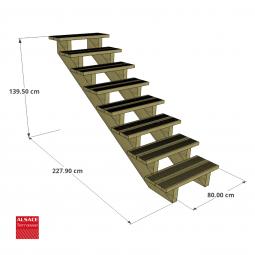 Structure pour appentis en bois 4 x 2 m