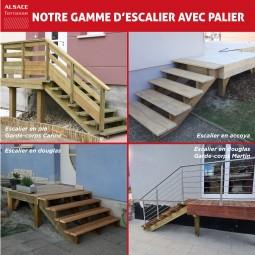 Kit escalier 5 marches en pin traité autoclave