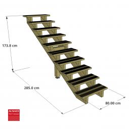 Structure pour appentis en bois 3 x 3 m