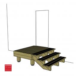 Kit escalier 12 marches en Ipé du Brésil