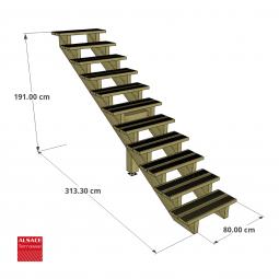 Structure pour appentis en bois 5 x 3 m