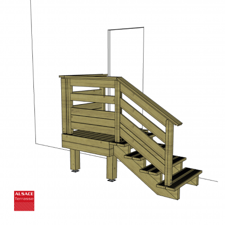 Kit escalier 4 marches largeur 120 cm marches en ip du br sil boutique als - Escalier bois 4 marches ...