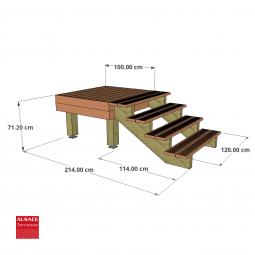 Kit escalier 11 marches en Ipé du Brésil