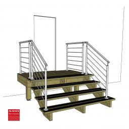 Kit escalier 9 marches en Ipé du Brésil