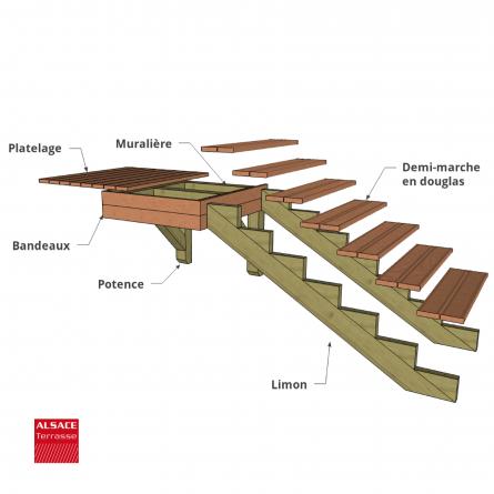 Kit escalier 6 marches largeur 100 cm en pin trait for Escalier exterieur 6 marches