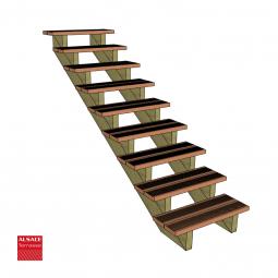 Kit terrasse autoportante 4 x 6 en pin autoclave, H : 120 cm, avec garde-corps modèle Carinne