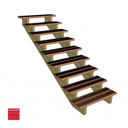 Kit terrasse autoportante 2 x 5 en pin autoclave, H : 200 cm, avec garde-corps modèle Carinne