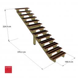 Kit terrasse autoportante 2 x 6 en pin autoclave, H : 200 cm, avec garde-corps modèle Carinne