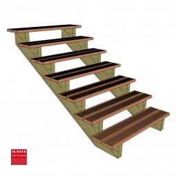 Kit terrasse autoportante 3 x 5 en pin autoclave, H : 200 cm, avec garde-corps modèle Carinn4
