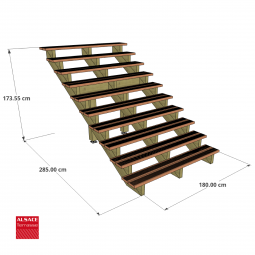 Kit terrasse autoportante 3 x 3 en pin autoclave, H : 120 cm, avec garde-corps modèle Anne