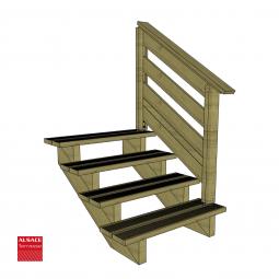 Kit terrasse autoportante 4 x 6 en pin autoclave, H : 120 cm, avec garde-corps modèle Anne