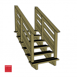 Kit terrasse autoportante 2 x 4 en pin autoclave, H : 200 cm, avec garde-corps modèle Anne