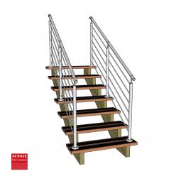 Kit terrasse autoportante 2 x 6 en pin autoclave, H : 200 cm, avec garde-corps modèle Anne