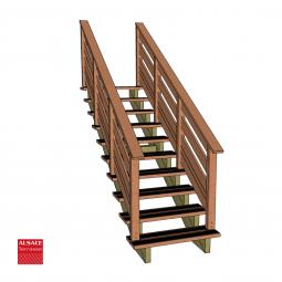 Kit terrasse autoportante 3 x 5 en pin autoclave, H : 200 cm, avec garde-corps modèle Anne