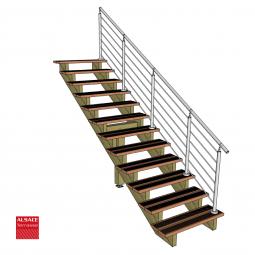 Kit terrasse autoportante 4 x 6 en pin autoclave, H : 200 cm, avec garde-corps modèle Anne