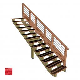 Kit terrasse autoportante 2 x 3 en pin autoclave, H : 35 cm (réglable)