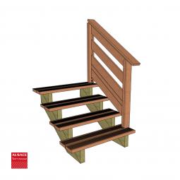 Kit terrasse autoportante 3 x 4 en pin autoclave, H : 48 cm (réglable)