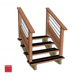 Kit terrasse autoportante 3 x 5 en pin autoclave, H : 44 cm (réglable)