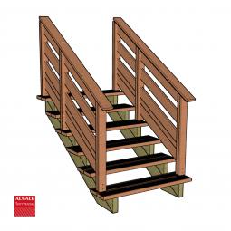 Kit terrasse autoportante 4 x 6 en pin autoclave, H : 53 cm (réglable)
