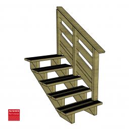 Kit escalier 7 marches en pin traité autoclave