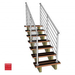 Kit escalier 10 marches en pin traité autoclave