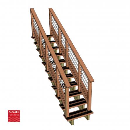 kit escalier 3 marches largeur 100 cm en pin trait. Black Bedroom Furniture Sets. Home Design Ideas