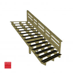 Kit escalier 13 marches en pin traité autoclave