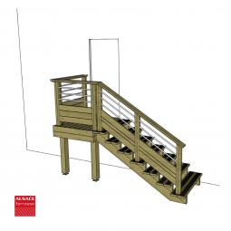 Kit escalier 4 marches en pin traité autoclave