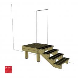 Kit escalier 6 marches en Ipé du Brésil