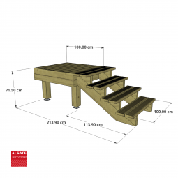 Kit escalier 7 marches en Ipé du Brésil