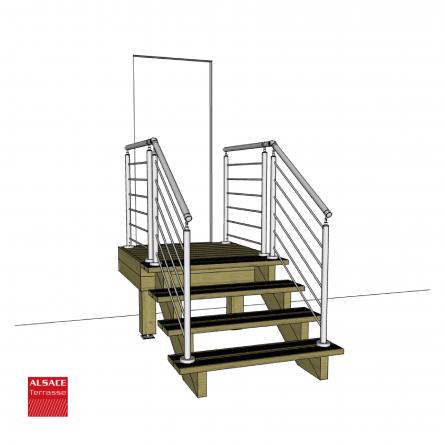 Kit escalier 13 marches en Ipé du Brésil