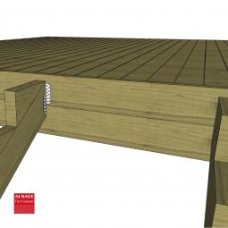 Kit terrasse autoportante 2 x 5 en pin autoclave, H : 120 cm, avec garde-corps modèle Carinne