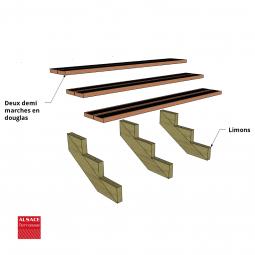 Kit terrasse autoportante 2 x 6 en pin autoclave, H : 120 cm, avec garde-corps modèle Carinne